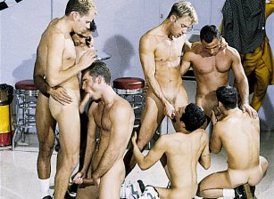 Nine Man Hazing Orgy - Oral